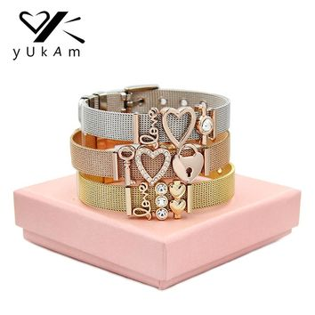 YUKAM Jewelry Keys Lock Crystal Love Heart Slide Charms Mesh Keeper Bracelets Life Tree Blessed Mom Bracelets for Women with Box
