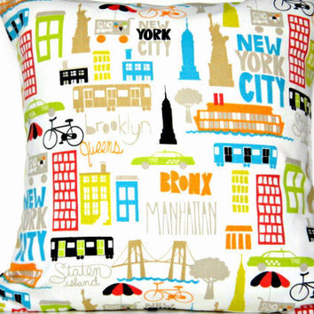 Pillow Cover White Graphic New York Street Scene Statue of Liberty Empire State Building Turquoise Lime Green Red Orange Black Taupe 18x18