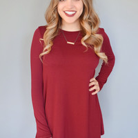 Fireside Long Sleeve Tee Shirt Dress Burgundy