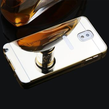 Luxury 2 in 1 Mirror Case Ultra thin Mirror Back Cover + Plating Metal Bumper Phone Case For Samsung Galaxy Note 3 N9000 N9005