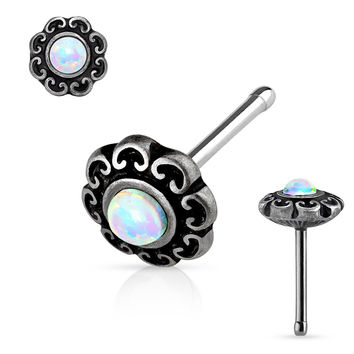 White Opal Centered Tribal Heart Filigree Antique Silver Plated Top 316L surgical Steel Nose Stud Rings