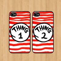 Thing 1 Stripes Best Friends iphone 4 /4S Case Soft Rubber - Set of Two Cases (Black or White ) SHIP FROM CA