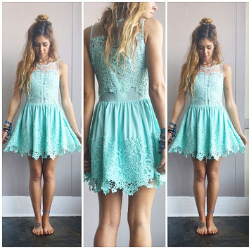 An Adorable Teal Crochet & Cotton Dress