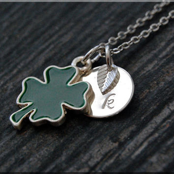 Silver Abstract Shamrock Necklace, Initial Charm Necklace, Personalized Necklace, Lucky Charm, Shamrock pendant, 4 Leaf Clover Necklace