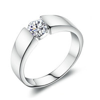 Sterling Silver Crystal Ring Unisex Jewelry Love Precious