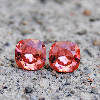 Peachy Pink Swarovski Earrings Rounded Square Peachy Pink Stud Earrings Mashugana