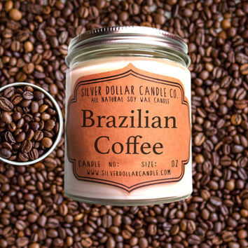 Brazilian Coffee 8oz Scented Candle | Fall scents, Java, Coffee scent, Winter scent, Thanksgiving, Coffee candles, Coffee Lover gift