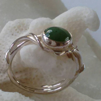 Jade ring - Handmade -artisan - one of a kind - Size 9.5 - Sterling silver - -unique - Natural - Free Shipping - Holydays gift.