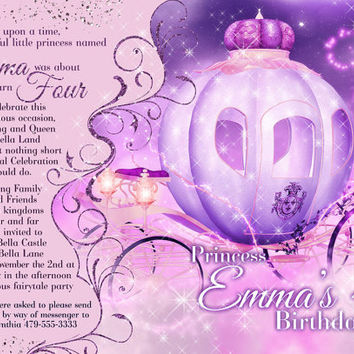 Princess Party Invitation, Birthday Party Invitations, Princess Invitations, Princes Party, Princess Carriage Invitation