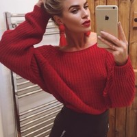 Claire Red Cable Knit Jumper