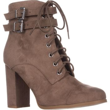 madden girl Klaim Lace Up Combat Ankle Boots, Taupe, 9 US