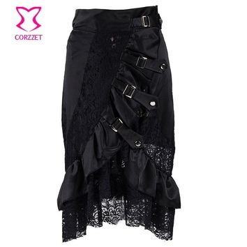 Punk Front Buckled Inelastic Waist Ruffle Satin and Hollow Out Floral Lace Mermaid Skirt Plus Size Black Gothic Skirts Womens