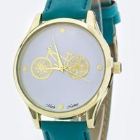 Classic Date Retro Bicycle Watch in Teal | Sincerely Sweet Boutique