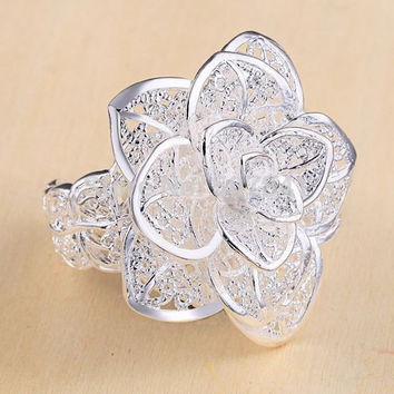 Resizable Beautiful noble cute pretty fashion Wedding Party silver plated WOMEN LADY Flower open Ring jewelry
