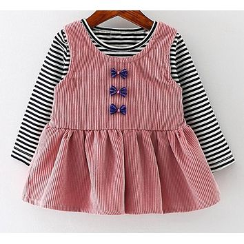 Baby Girls Dress Black and White Stitching Sleeve Bow Princess Dress Children Clothing Newborn Lovely Dresses