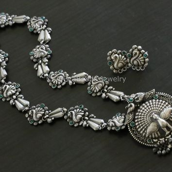 Silver Look Alike Peacock Necklace - Green