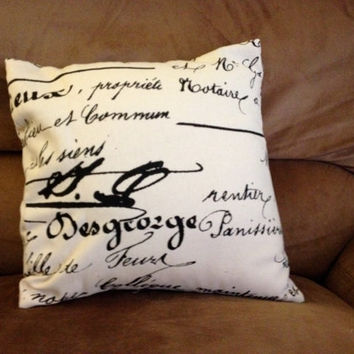Black and white duck cloth throw pillow with writing- 14 X 14