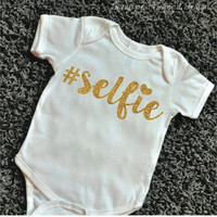 Hipster Baby Clothes Selfie Shirt Hashtag Shirt Newborn Bodysuit Glitter Shirt Baby Girl Clothes Baby Girl Shirt Baby Gift 072