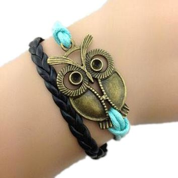 Lovely Owl Blue Bracelet