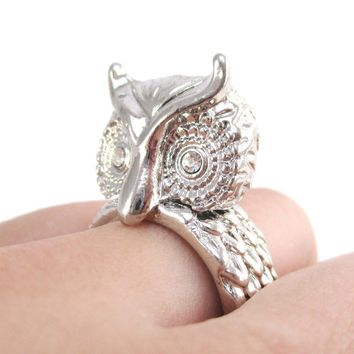 3D Great Horned Owl Shaped Animal Ring in Shiny Silver with Rhinestone Eyes