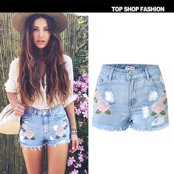 Floral Printed Women Slim High Waisted Jeans Shorts _ 1176