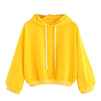 Women's Drop Shoulder Long Sleeve Hooded Drawstring Comfy Sweatshirt