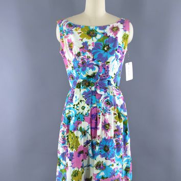 Vintage 1960s Dress / Aqua Blue Purple Floral