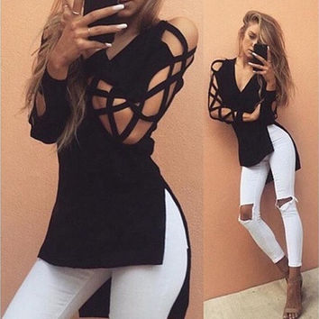 Women Blouse Deep V Cross Strap Hollow Bandage Long-sleeved Women Split T-shirt _ 9237
