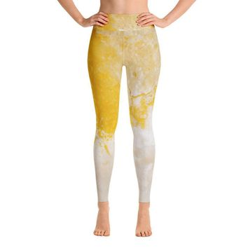 Abstract Texture II Yellow Yoga Leggings