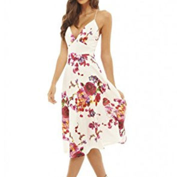 Cream Deep V-Neck Floral Print Strappy Midi Skater Dress