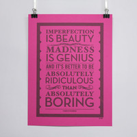 Imperfection is Beauty - Marilyn Monroe quote poster