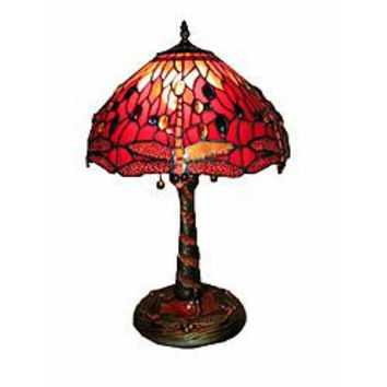 Warehouse of Tiffany: Tiffany Style Red Dragonfly Lamp w/ Mosaic Base