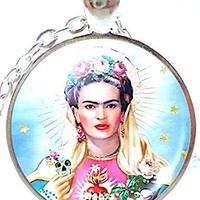 Mod Provisions Frida Kahlo with Flowers Glass Round Cabochon Pendant Necklace