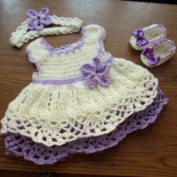 Crochet baby dress shoes headband set newborn baby set newborn outfit baby first outfit bring home  baby frock booties headband cream l
