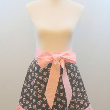 Womens Black Half Apron, Pink Floral, Flowered, Full Skirt, Ruffled, Polka Dots, Holiday, Christmas Gift for Her, Wife, Girlfriend, Mom