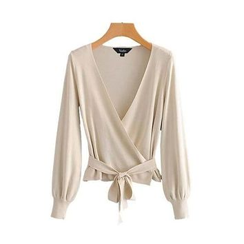 Knit Wrap Blow Top - Creme