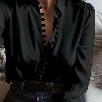 Black Single Breasted Turndown Collar Long Sleeve Casual Blouse