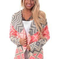 Neon Pink and Grey Patterned Cardigan