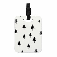 "Suzanne Carter ""Pine Tree"" Black White Decorative Luggage Tag"