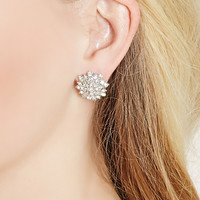 Rhinestoned Floral Studs