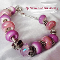Ceramic Large Rondelle in Pink Purple With Sterling Silver Large Sterling Silver Chain Charm Bracelet