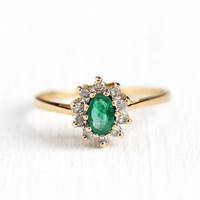 Genuine Emerald Ring - Estate 14k Yellow Gold .21 CT Green Gemstone & Diamond Halo - 1980s Size 6 May Birthstone Dainty Fine Cluster Jewelry