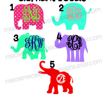 Monogrammed Elephant Decal - 2 Color Personalized Elephant Sticker - Cute Custom Decal for Car Laptop Notebook