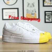 [ Free  Shipping ] Nike Air Force 1 '07 White/ Yellow  Running  Sneaker