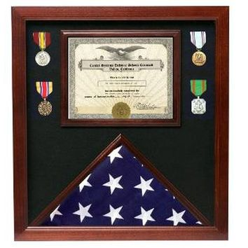 Flag medal display case, great flag case for retirement certific Hand Made By Veterans