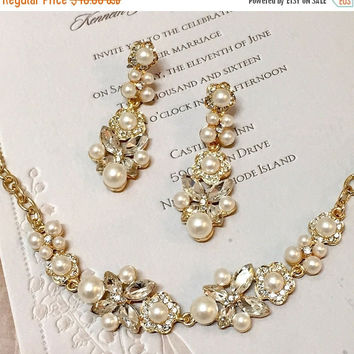 bridal jewelry set , Bridal gold Bracelet earrings, pearl crystal ribbon bridal Bracelet, Golden bridal crystal Bracelet,wedding jewelry