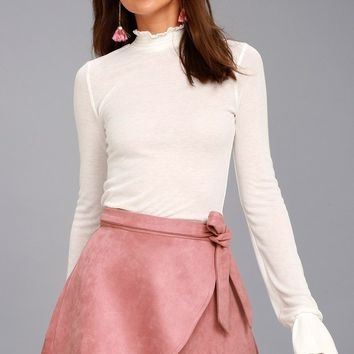 Wrap to It Mauve Suede Wrap Skirt