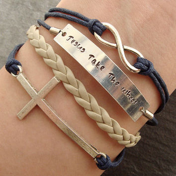Jesus Bracelet, Engraved Bracelet, Cross & Infinity Bracelet, Braided Rope Bracelet, Personalized Gift- Jesus Take The Wheel