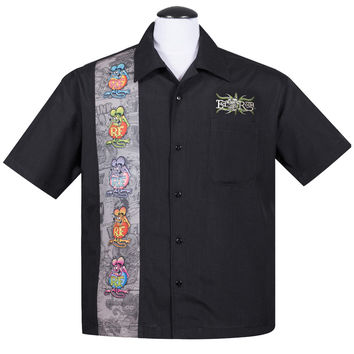 Rat Fink Five Finks Panel Button Up 50's Bowling Shirt HEMD Rockabilly