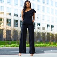Party Time Ruffle One Shoulder Jumpsuit In Black